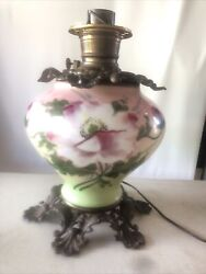 Antique Six Footed Gwtw Gone With Wind Parlor Floral Brass Lamp Base Pink Green
