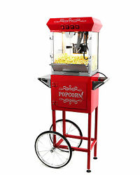 Paramount 6oz Popcorn Maker Machine And Cart - New Upgraded 6 Oz Popper [red]
