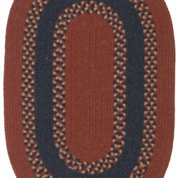 Corsair Banded Red Navy Wool Blend Oval Country Cottage Braided Rug