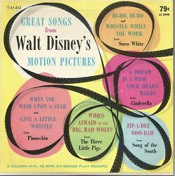 Walt Disney's Great Songs From Motion Pictures - Golden Records Ep - 45 Rpm Mint