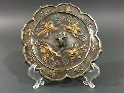 Old Early Chinese Bronze Mirror With Gold Splash Jin Dynasty 12th Century