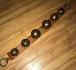 """Antique Brass Jingle Sleigh Bells On A Primitive Leather Strap 6 Bells 26"""""""