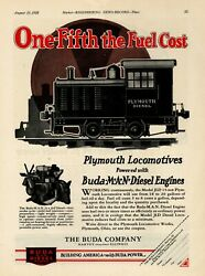 1928 Buda Engines Ad Diesel Power For Model Jld 15 Ton Plymouth Locomotives