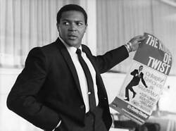 Chubby Checker Holding Up His Tour Poster 1964 Music Old Photo
