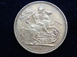 1901 Gold Full Sovereign Coin - Queen Victoria Old Head - Sydney Mint 355