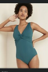 Old Navy Twist Front Textured One Piece Blue Teal Swimsuit Women#x27;s Size Small