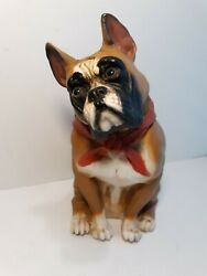 Boxer Dog Figurine Vintage Indoor Outdoor Celluloid? 10 Inches Tall USA made