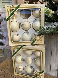 Lot/17 Pyramid Decorative Ivory Ornaments Christmas Threaded Satin-sheen And Glass