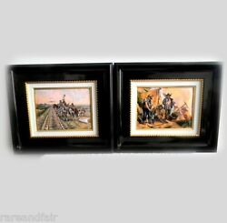 Pair Of Limoges Plaques Of American West Scenes - Miners And Indians