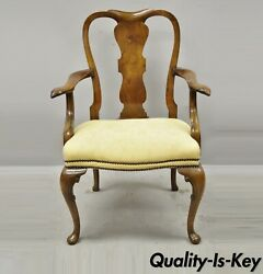 19th Century English Queen Anne Carved Burr Walnut Splat Back Dining Arm Chair