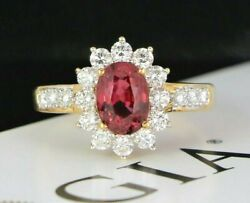 7800 18k Yellow Gold Oval Natural Spinel Round Diamond Cocktail Cluster Ring 8