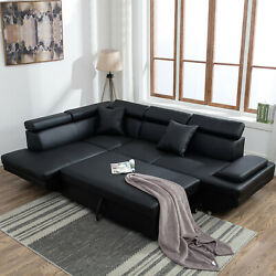 Modern Living Room Sectional Sofa Sleeper Bed Futon Couch Convertible Leather