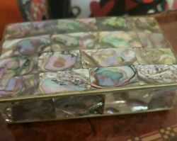 Vintage Alpaca Mexico Abalone Shell Jewelry Trinket Box- Great Quality And Detail