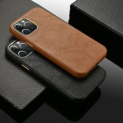 For iPhone 12 Pro Max 12 mini 11 Luxury Genuine Leather Back Phone Case Cover