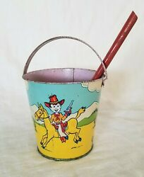 Vintage J. Chein Children's Cowboy, Cowgirl And Indian Metal Sand Pail Circa 1950'