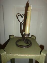 Antique Hand Wrought Candle Stick Holder w Heart