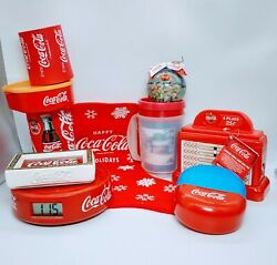 Lot Of 10- Vintage Coca-cola Coke Items- Ornament, Tin, Tray, Can Etc. Pre-owned
