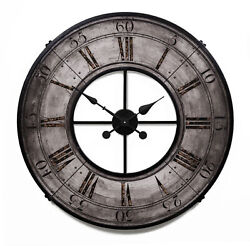 Vintage Style Old World French Tower Wall Clock Round Open Dial Gray Riveted