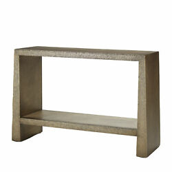 Luxe Hand Hammered Brass Gold Console Table Wide Minimalist Tapered Bronze
