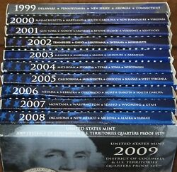 1999-2009 Proof Sets State Quarters And Territories 11 Sets