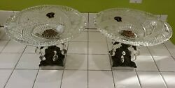 Rare Pair Monarch Lead Crystal Glass Bowls Brass Stand Marble Base W Germany