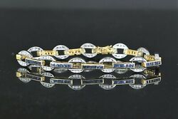 5750 14k Solid Yellow Gold Blue Sapphire Round Diamond 7.25and039and039 Tennis Bracelet