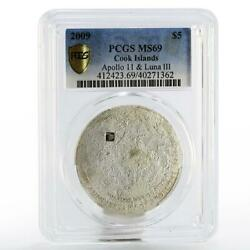 Cook Islands 5 Dollars Moon Lunar Meteorite Ms-69 Pcgs Silver Coin 2009