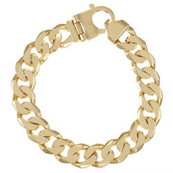 9ct Solid Gold Heavy Classic Curb Bracelet 9 - 12.5mm Rrp Andpound3470 Bi4_9_a