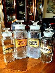 Set Of 4 Antique Circa Late 19th Century Glass Apothecary Jars With Lids.