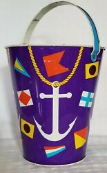 Vintage J. Chein Sand Pail Nautical Flags And Anchors 8