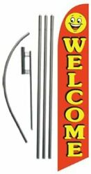 Welcome Red/smiley 15ft Feather Banner Swooper Flag Kit - Includes 15ft...