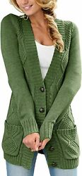 Womens Cardigan Open Front Design With Buttons Cable Knit Pocket Sweater Coat