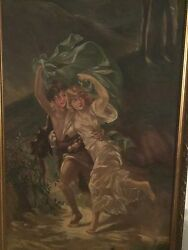 Pierre Auguste Cot The Storm Beautiful And Very Large Museum Quality Painting