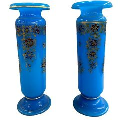 Pair Of French Baccarat Opaline Glass Polychrome Vases With Gilt Highlights-1890