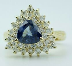 14k Yellow Gold Trillion Cut Blue Sapphire With White Diamond Double Halo Ring