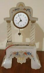 Painted Milk Glass Clock With Flowers Circa 1780