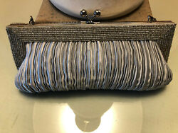 Gorgeous Beaded amp; Pleated Silver Evening Bag $18.00