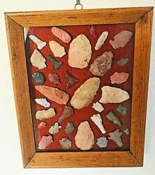 Arrow Heads From Northern Az. 1950s 10 X 8 Framed Collection