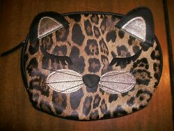 BLACK BROWN NEW PANTHER CAT FACE COSMETIC BAG