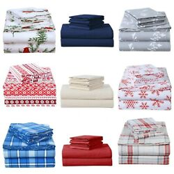 Heavy Winter Flannel 100 Cotton Sheet Set Fitted Flat Pillowcases Deep Pocket