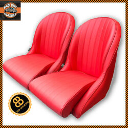 Pair Red Bb Vintage Classic Bucket Seats Low Back Ideal Hot Rod / Kit Car