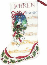 Pack 3 Silent Night Stocking Counted Cross Stitch Kit-10.5x15 14 Count Part