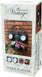 Outdoor Indoor Garden Wall Clock Thermometer With Plant Holder