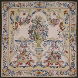 Aubusson Tapestry Hand-woven French Gobelins Weave Wool Wall Hanging Rug 4x4