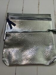 Ipsy Bags 2 Silver Bags One Regular One Large $5.00