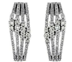 Wide 1.0ct Diamond 14k White Gold Multi Row Past Present Future Hanging Earrings