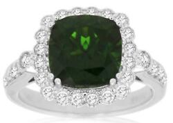 3.7ct Diamond And Aaa Green Garnet 14k White Gold Cushion And Round Flower Love Ring