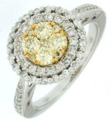 1.03ct White And Fancy Yellow Diamond 14kt 2 Tone Gold 3d Cluster Double Halo Ring