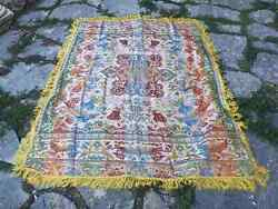 Vintage Tablecloth, Silk And Rayon Colorful Table Cover