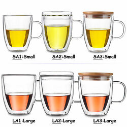 Clear Heat Resistant Double Wall Glass Cocktail Mug Coffee Water Cup W/ Grip